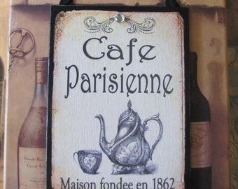 French Cafe Sign, Paris Decor, Shabby Cottage Chic, French Kitchen Decor, Vintage Coffee Shop Sign