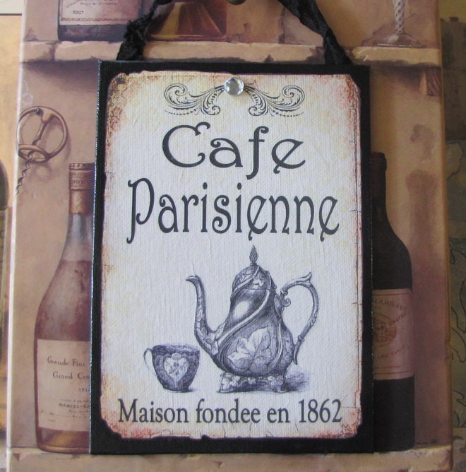 French Cafe Sign Paris Decor Shabby Cottage Chic French Kitchen Decor Vintage