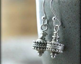 Silver Boho Earrings, Solid Sterling Silver, Simple Drops Dangle Everyday Earrings Zen Jewelry Tibetan Prayer Wheels Gift Under 50