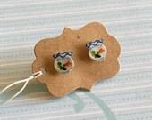 Goldfish Bowl Earrings- Goldfish Earrings - Post Earrings - Upcycled Sticker Earrings - Unique Jewelry - Funky Earrings