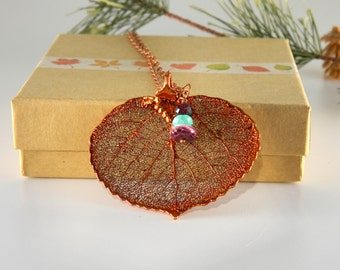 Copper Plated Aspen Leaf Necklace, 30 inch long Necklace, Fall Wedding
