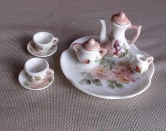 Vintage Miniature Hand-painted Porcelain China Tea Set - Hand-made