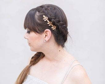 Gold Leaf Athena Comb -  Bridal or Special Occasion Boho Comb, crown, halo, hair piece