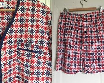 Vintage Deadstock 1950s 1960s Mens Printed Pajama Set - RARE Unworn Condition