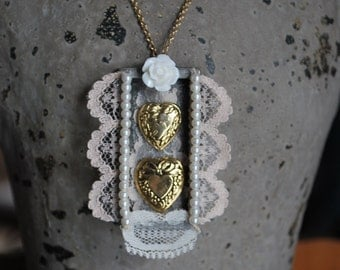 Vintage lace mixed media mori girl shabby chic boho valentine heart and pearl necklace