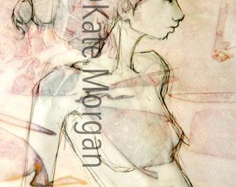"8x10 Classical Greek Egyptian Female Profile Red Neutral ""Tomasina"" Fine Art Print"
