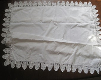 Large antique French pillowcase with beautiful lace border, eurosham, square, cushion cover, bed linens
