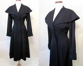 "Beautiful 1940's Midnight Blue Gabardine Princess Dress Coat with Bright Red Lining by ""Miron"" Old Hollywood Glamour Starlet Size-Medium"