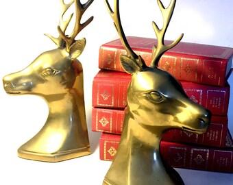 Brass Deer Bookends, Vintage Brass Bookends, Brass Deer with Antlers Book Ends,  Brass Buck Bookends, Brass Buck Heads, Brass Door Stops