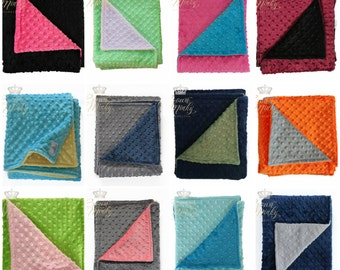Baby Minky Blanket, Minky Baby Blanket, Choose your Colors