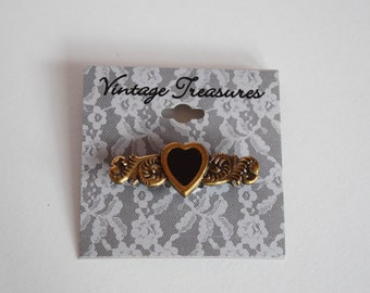 Vintage HEART PIN BROOCH Brass Ornate Victorian Style Treasures Ladies Jewelry Lady Woman Women Valentine Accessory on Original Card Scrolly