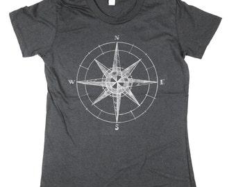 Womens Dark Grey Compass Tshirt - womens Compass - organic cotton - Small, Medium, Large, XL
