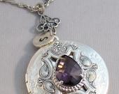 Amethyst Sparrow,Locket,Amethyst Necklace,Amethyst Locket,Amethyst Jewelry,Antique Amethyst,Photo Locket,Silver Locket,Pruple Stone,Purple