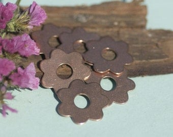 Copper 7 Petal Flowers with Center Cutout for Enameling Stamping Texturing Soldering Blanks