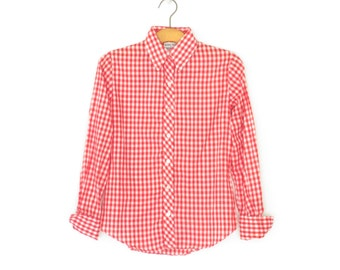 70s Checkered Shirt * Vintage Checked Blouse * French Cuffs * Red White * Small