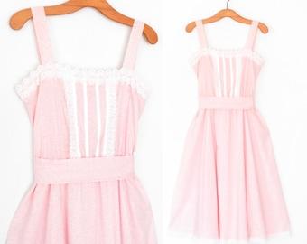 Vintage Sun Dress * Floral 80s Sundress * 1980s Gunne Sax Dress * Large