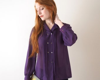 Genet, purple vintage blouse, embroidered sleeves and neck, small