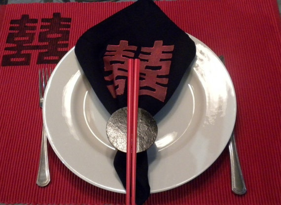Black Chinese Double Happiness Napkins- Set of 4