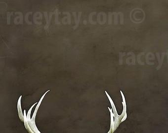 Deer Antlers, Rustic Wall Art, Brown, Large Wall Art, Antler Print, Men, Rustic Cabin Decor