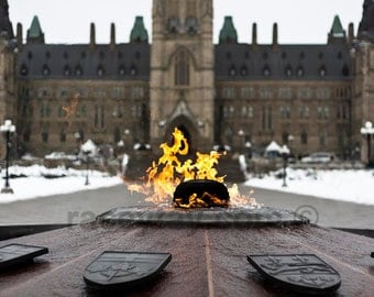 Ottawa Photography, Eternal Flame, Parliament Hill, Orange, Gray, Centennial Flame, Wall Art