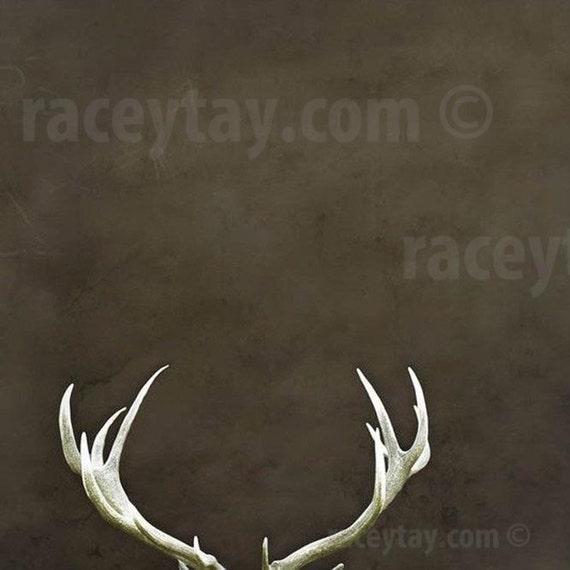 Deer Antlers, Rustic, Fall Decor, Brown, Large Wall Art, Antler Print, Men, Rustic Cabin Decor