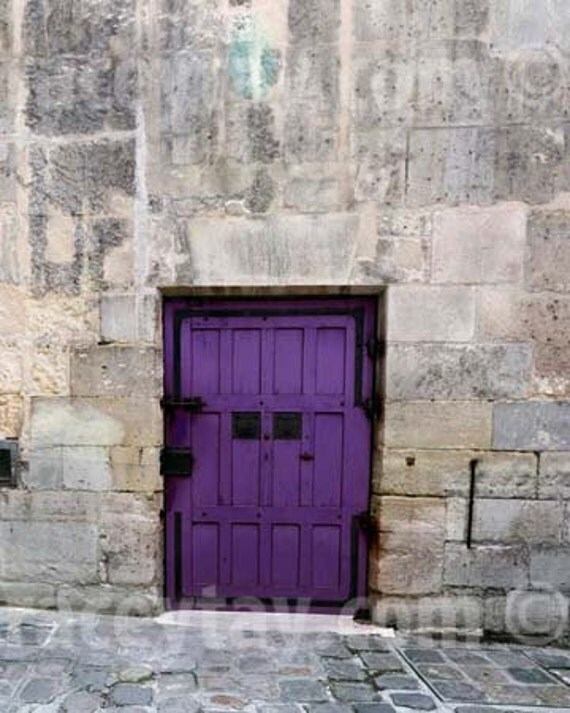 Purple Paris Door, Gray, Purple, Rustic, Paris Photography, Large Wall Art, Paris Print, Door Photo, Rustic Purple Door