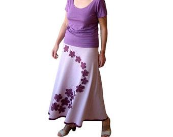 Maxi skirt in rose quartz, A line long skirt, Romantic skirt with applique, Womens skirt, Plus size womens skirts, Custom Plus size clothing
