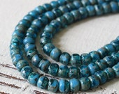 Size 6/0 Seed Beads - 4x3mm Trica Beads - 3 Cut Picasso Seed Beads - Jewelry Making Supply - Aqua Blue Teal - 6 Inches - 50 beads
