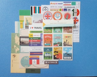 12 SHEETS, Travel sticker set, Travel stickers, Travel Scrapbooking, Holiday stickers, Europe stickers, Asia stickers