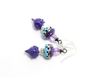 Lampwork Glass Bead Earrings. Colorful Dangle Earrings. Artisan Glass Headpins. Boho Gypsy Earrings. Lampwork Jewelry.