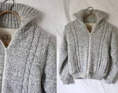 c1980's Heathered Gray Cable Knit Fleece Lined Sweater Coat S