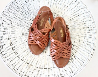 woven leather sandals / 7w