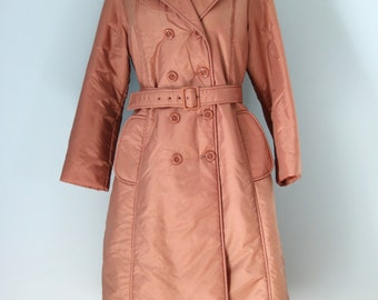 1970s Bromleigh Trench Coat / 70s Copper Quilted Nylon Coat