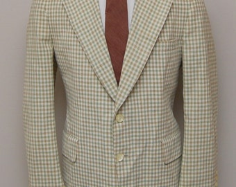 1960s men's green/orange/cream check blazer/ 60s men's green check blazer/ Doncaster