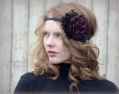 Valentine Headband / Red and Black Rose Lace Headpiece