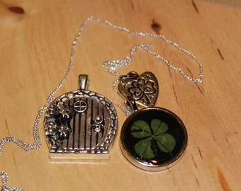 Lucky Real Four Leaf Clover Charm Necklace With a Fairy Wish Door and Shamrock Charm for  Good Luck