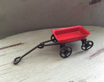 Miniature Red Wagon,  1.75 in. (4.45 cm), Fairy Garden Accessory, Home and Garden Decor, Embellishment, Cake Topper