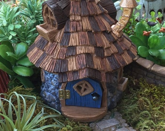 "Miniature House Fairy Garden House. ""Shingletown Cone Top Fairy House"" With Hinged Door, Fiddlehead Fairy Garden Accessory, Garden Decor"