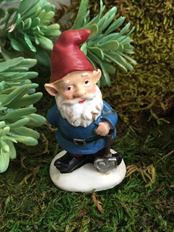 Mini Garden Gnome With Red Hat, Blue Coat Figurine, Home and Garden Decor, Fairy Garden, Gnome Garden Accessory