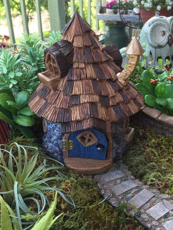 "Miniature House Fairy Garden House. ""Shingletown Cone Top Fairy House"" With Hinged Door, Fiddlehead Fairy Garden Accessory, Garden Decor"