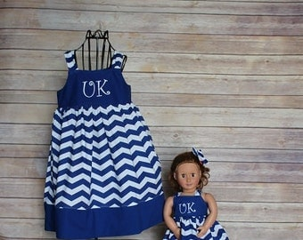 Boutique Girls dolly and me Uk Kentucky knot dresses, size 1-8, girls kentucky wildcats dress