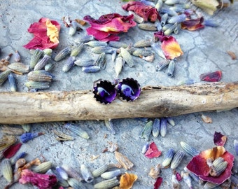 Deep Purple - Sterling Silver with 5mm African Amethyst Post Earrings - Stud Earrings Boho - Bohemian Post Earrings Amethyst Earrings