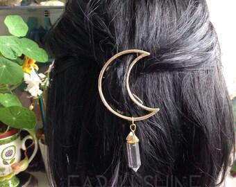 GOLD Moon Crystal hair clip, crescent hair barrette with gemstone dangle (original design)