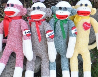 Traditional Large Sock Monkey Doll in Pink, Brown, Red, Yellow, Green. Personalized