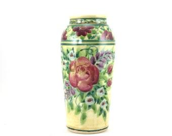 Yellow Porcelain Flower Vase - Pottery Flower Pot - Classic Red Rose Design - Decorative