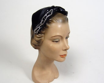 1950s rhinestone evening capluet  • vintage 50s hat • black satin crown