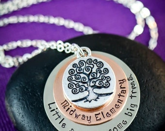 School Teacher Necklace - Teacher Jewelry - Personalized Birthday Gift - Stacked Necklace - Stamped Necklace - Custom Name Jewelry