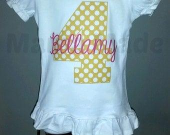 Girl's Birthday Shirt, Yellow number birthday shirt, Yellow polka dot number birthday shirt 6 mo 9 mo 12 mo 18 mo 24 mo 2t 3t 4t 5 6 8 10 12