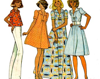 70s Puff Sleeve Tent Dress or Swing Top Maxi Dress pattern McCall's 4574 Vintage Sewing Pattern Size 12 Bust 34 inches