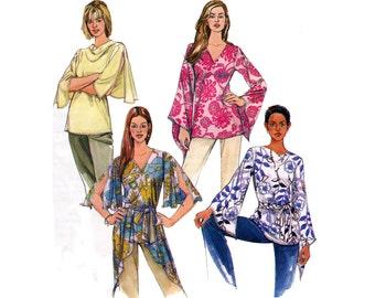 McCall's 4305 Womens Draped Boho Angel Sleeve Flutter Sleeve Hippie Tops Sewing Pattern UNCUT Factory Folded Size 4 6 8 10 12 14